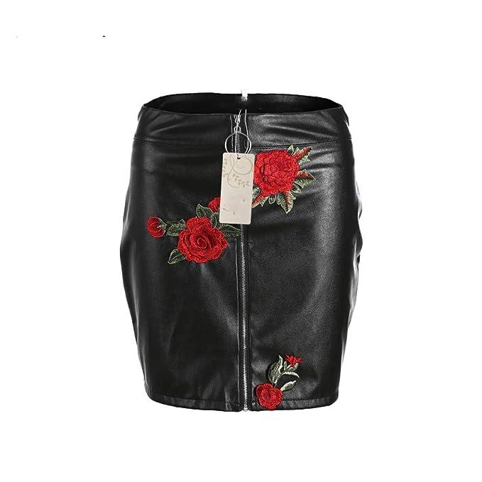 GYYWAN Para Mujer Faldas Flor Bordado De Las Mujeres Negro Cuero ...