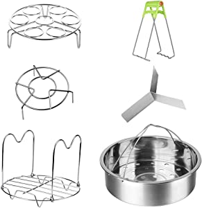 Accessories for Instant Pot,Vermida 6 Pieces Pressure Cooker Accessories with with Steamer Basket,Removable Divider,Egg Steamer Rack,Steamer Rack Trivet with Handle,Cooker Trivet,Dish Clip