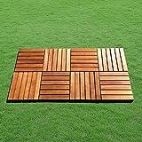 Vifah Natural Acacia Hardwood Deck Tiles (Pack of 10) - Horizontal slats