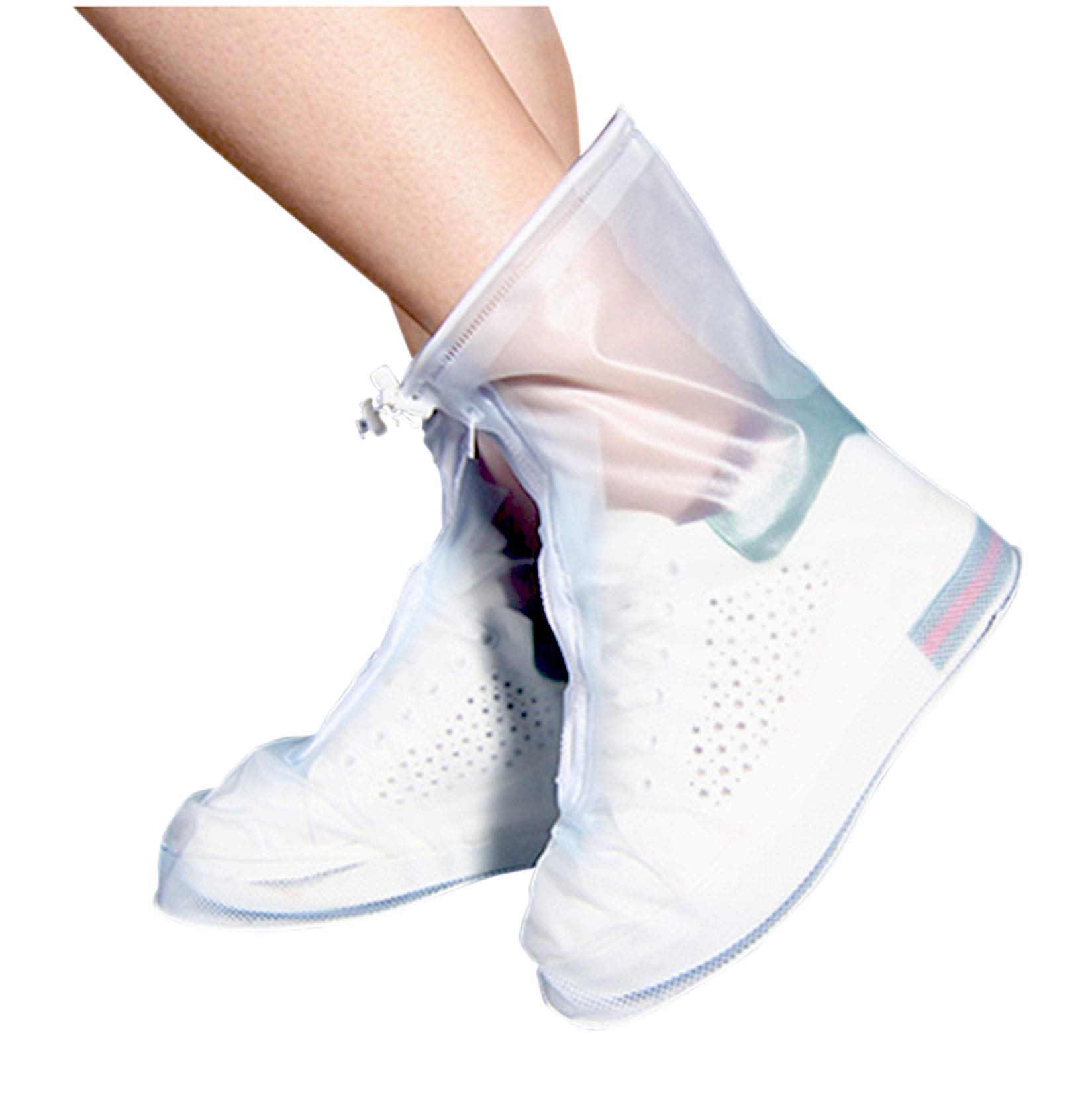 ARUNNERS Rain Shoes Boots Covers Overshoes Galoshes Travel for Women(M,White)