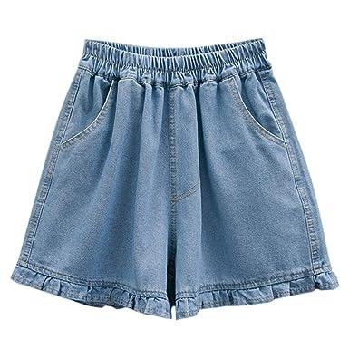 2cfead42f08f Riono Mujer Pantalones Cortos de Mezclilla Talla Grande, Pantalón ...