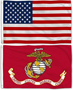 Aisto 2 Pieces 3x5 USMC US Marine Corps Flag and American Flag Made by 100% Polyester – Vivid Color and UV Fade Resident