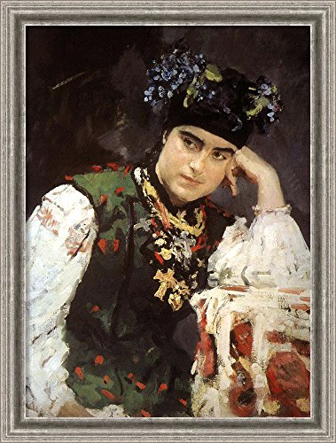 [Canvas Art Framed 'Portrait of Woman in Traditional Outfit, 1889' by Valentin Aleksandrovic Serov] (Traditional Russian Outfits)