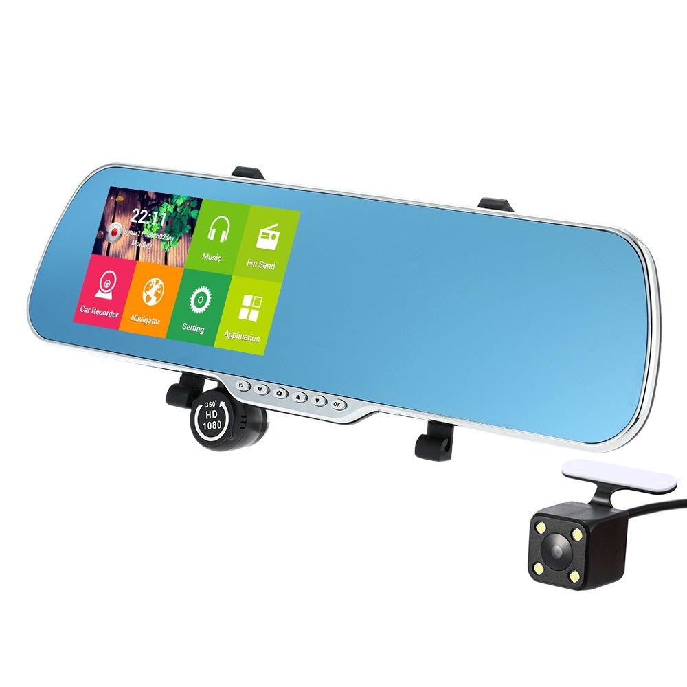 Docooler 5' 1080P HD Dual lens Rearview Mirror GPS Navigation Camera Recorder with G-sensor Motion Detection Night Vision