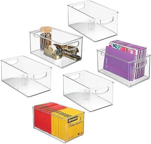 mDesign Juego de 6 cajas de almacenaje con asas integradas ...