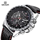 MEGIR Black Dial Army Military Leather Band Men Quartz Business Wrist Watch Gift