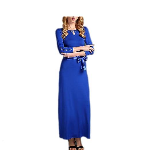 Amazon.com: LadyCaca Fashion mulheres elásticas cor sólida vestido longo elegent moda Primavera verão vestidos: Clothing