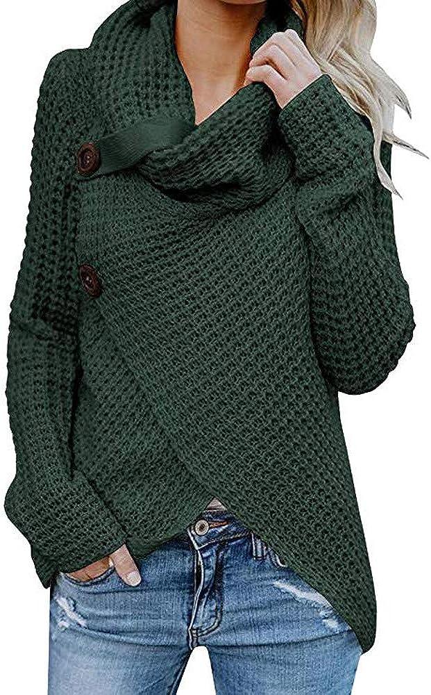 Battnot-Damen Strickpullover Strickjacke Warm Rollkragen Cardigan Herbst Winterjacke Casual Wrap Wickel Pullover Frauen Grosse Gr/össen /Übergangsjacke Bequem Langarm Solide Sweatshirt Tops Bluse S-5XL