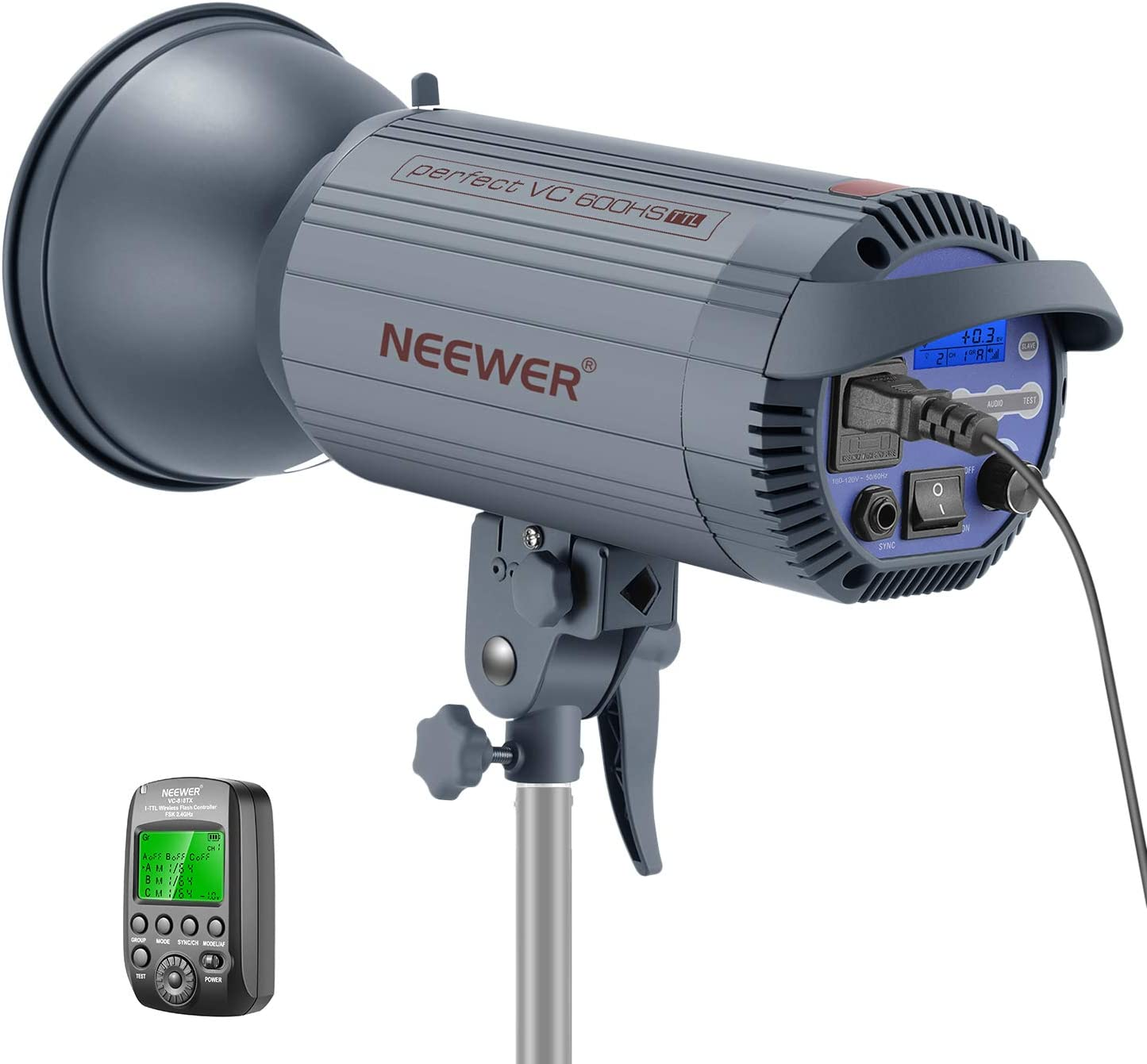Neewer 600W TTL HSS 1/8000s GN86 Studio Strobe Flash Light Monolight with 2.4G Wireless Trigger for Nikon DSLR Cameras,Recycle 0.6 Sec, Bowens Mount for Indoor Studio Portrait Photography(VC 600HS)