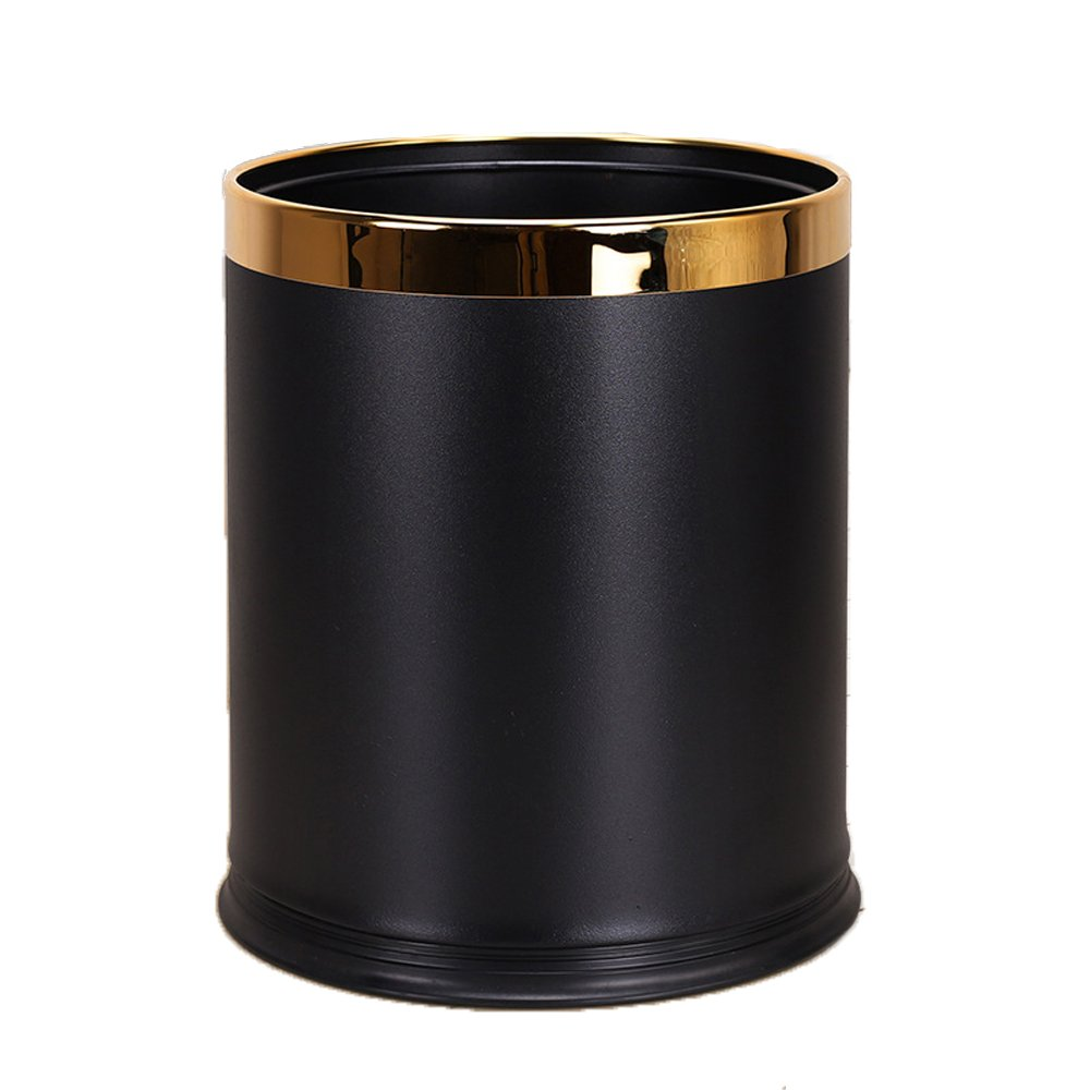 Luxury Metal Waste Bin,Open Top Office Wastebasket,Double Layer Trash Can,Round Shaped (Black Lacquer w/o Leather)