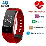 Smart Heart Rate Sports Wristband Heart Rate Monitor Bracelet Bluetooth Fitness Wristband Precision Dynamic Heart Rate Active Sports Monitoring content display(Red)