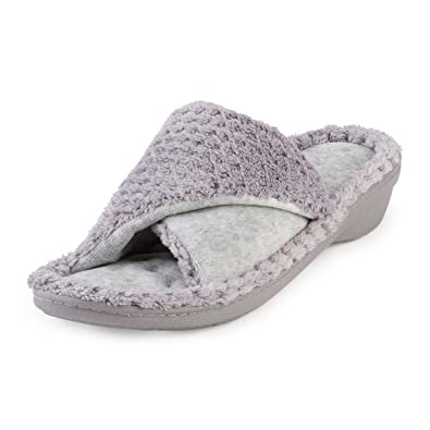 1d849cea31a6f Isotoner Women's Popcorn Tunover Open Back Slippers