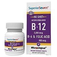 Superior Source No Shot Methylcobalamin Vitamin B12/B6/Folic Acid Tablets, 5000...