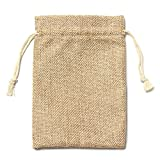 TOOGOO(R) 5pcs Vintage Burlap Jute Sacks Weddings Party Favor Drawstrings Gift Bags