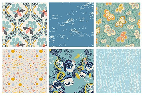 Blue Quilting Fabric Bundle with Bees for Gardeners | Sweet as Honey by Bonnie Christine | Blue Floral Fat Quarter Bundle | Art Gallery Fabrics | Modern Floral Quilt Fabric (Fat quarters)
