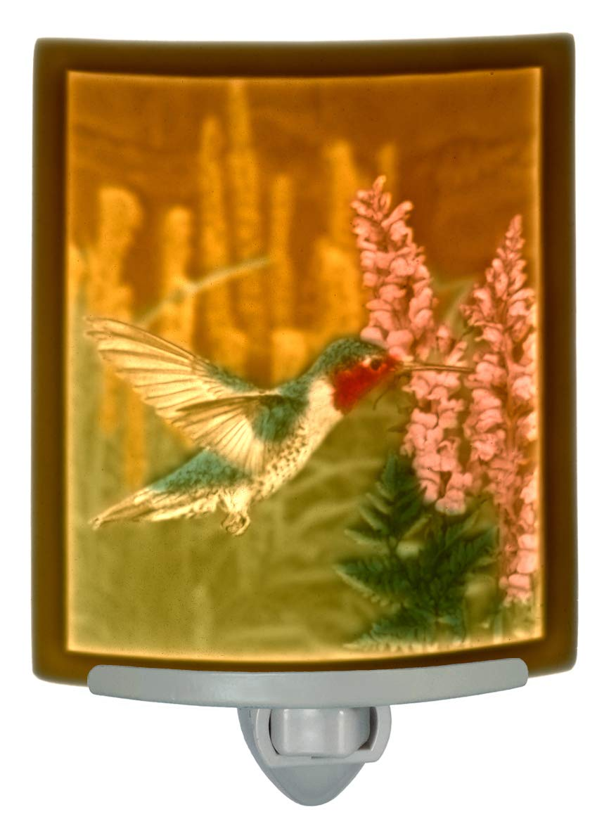 The Porcelain Garden Sweet Nectar Hummingbird Colored Lithopane Night Light