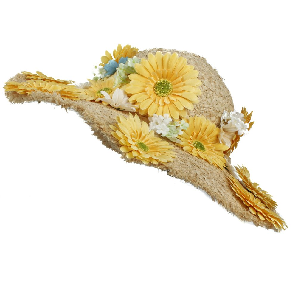 Sombrero - 100% Raffia Beach Beach Sun Hat para Lady Dome Dome Lady Flower Hecha a Mano Sunbonnet (Color : Natural, tamaño : 57-58cm) 32a87f