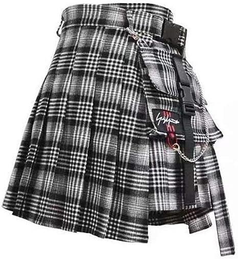 JingBiaomaoyi Mini Falda for Mujer, Bolsillos Laterales de Estilo ...