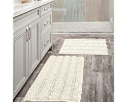 (Set of 2) Super Thick Soft Striped Shaggy Chenille Bath Mats Machine Washable Bath Rugs Set for Bathroom, Dry Fast Water Abs
