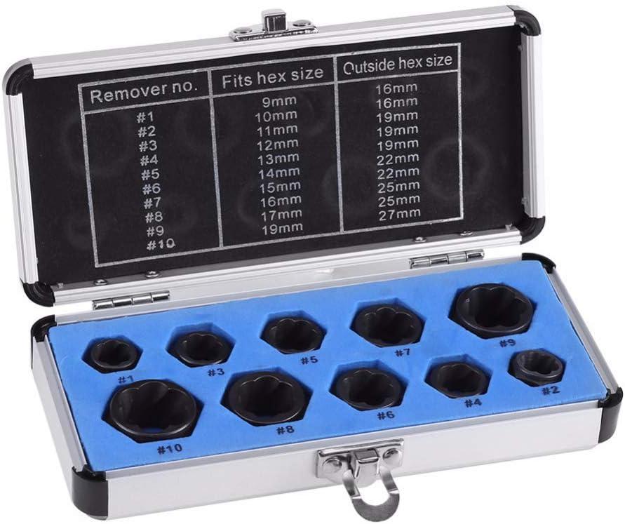 Matedepreso - Juego de 10 Piezas de extractores de Tuercas de 9 a 19 mm para Tuercas dañadas, Tipos Cortos, Tamaño Libre