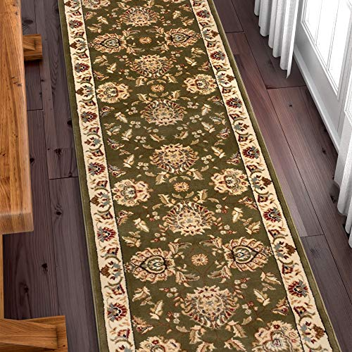 Well Woven Custom Size Hallway Runner- Choose Your Length - Sultan Sarouk Green Oriental Persian Traditional 27 Inch Wide x 18 Feet Long Runner (Long Polyester 18')