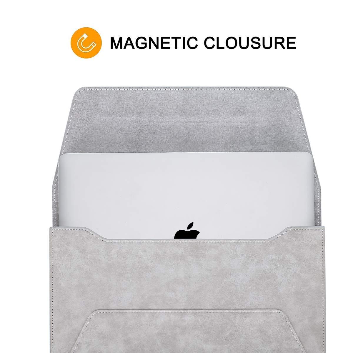 Bolsa de Estilo Solapa con Cierre Magn/ético Marr/ón MOSISO PU Funda Protectora Compatible con 2019 2018 MacBook Air 13 A1932//2019-2016 MacBook Pro 13 A2159 A1989 A1706 A1708//2018 Surface Pro 6