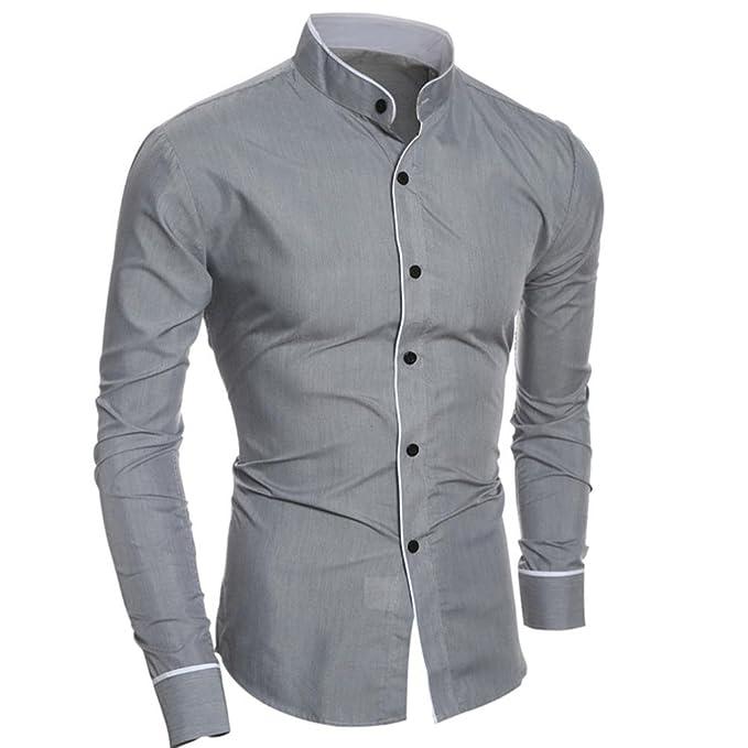 8eeaa62cfbdc Goosuny Herren Business Hemden Mode Persönlichkeit Schlank Stehkragen Slim  Fit Hemd Bluse Freizeithemden Herrenhemd Hemd mit