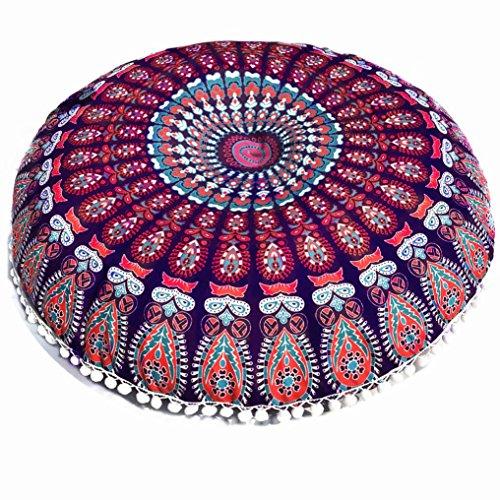 Kintaz 8080cm Puff Blue Mandala Floor Pillow Cushion Seating Throw Cover Hippie Decorative Boho ()