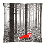 Custom Cotton & Polyester Soft Square Zippered Cushion Throw Case Pillow Case Cover 18X18 (Twin Sides) - Cute Animal Red Fox Camouflage Camo Tree Forest Spot Snow Flowers Black And White Personalized Pillowcase
