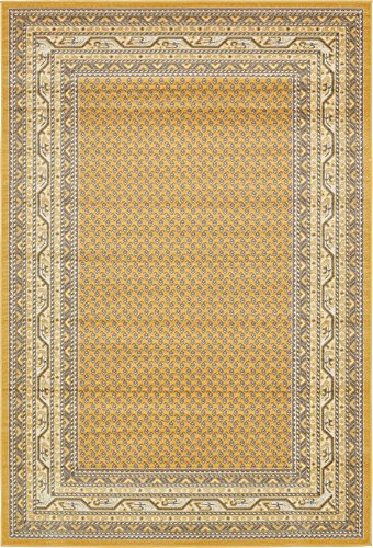 (Unique Loom Williamsburg Collection Traditional Border Yellow Area Rug (6' 0 x 9' 0) )