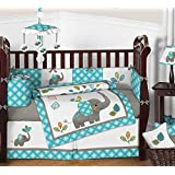 Sweet Jojo Designs 9-Piece Turquoise Blue Gray and White Mod Elephant Crib Bed Bedding Set with Bumper for a Newborn Baby Girl or Boy