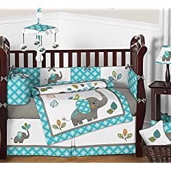 Sweet Jojo Designs Turquoise Blue Gray and White Mod Elephant 9 piece Crib Bed Bedding Set with Bumper for a Newborn Baby Boy or girl - unisex
