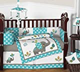 Sweet Jojo Designs Turquoise Blue Gray and White Mod Elephant 9 piece Crib Bed Bedding Set with Bumper for a Newborn Baby Girl or Boy
