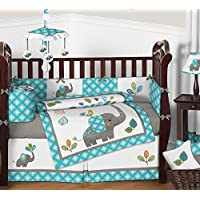 Sweet Jojo Designs Turquoise Blue Gray and White Mod Elephant 9 piece Crib Be...