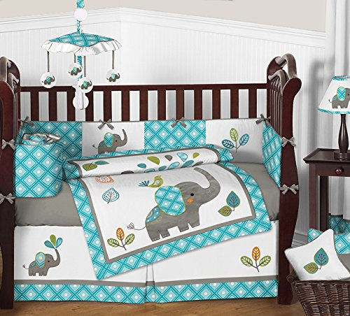 Sweet Jojo Designs Turquoise Blue Gray and White Mod Elephant 9 piece Crib Bed Bedding Set with Bumper for a Newborn Baby Girl or Boy (Baby Crib Bedding Sets Elephant)