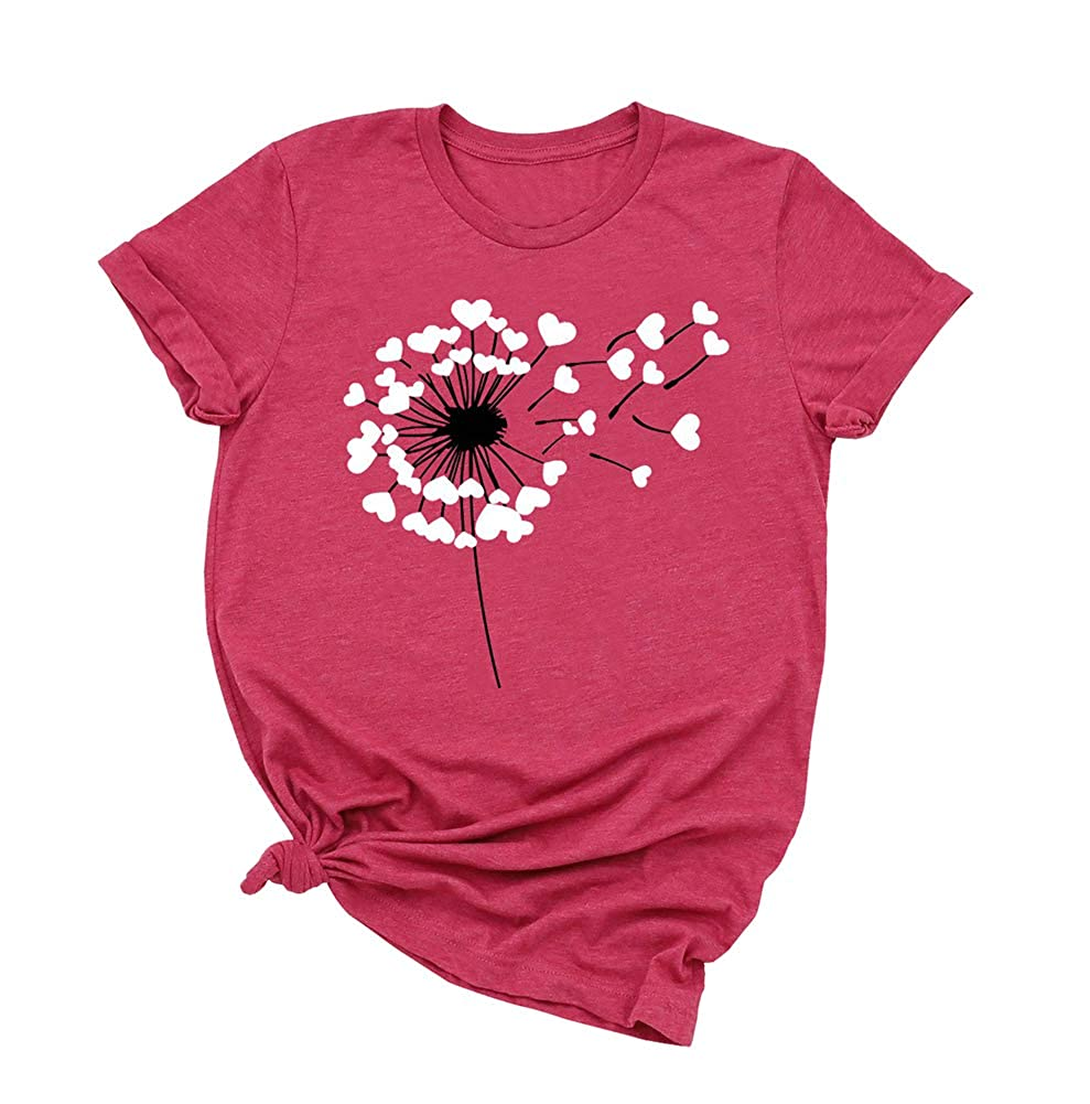 Heart Print Valentines Day Shirts for Women Cute Dandelion Short Sleeve Tee Top