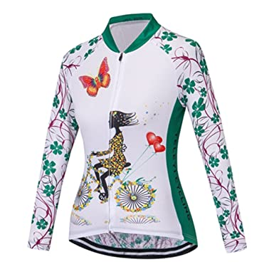 f33de634f Outdoor Sports Women s Long Sleeve Cycling Jersey Full Zipper Polyester  Autumn Tops Green S