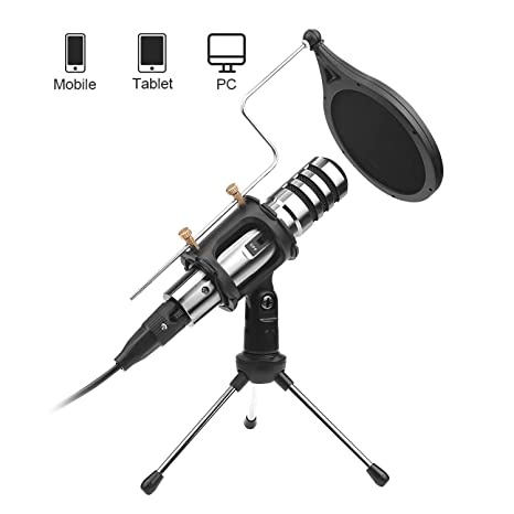 DricRoda Condenser Microphone, 3 5mm Studio Recording Broadcast Microphone  Computer Phone Mic w/Tripod Stand, Pop Filter for Karaoke, Gaming, Podcast,