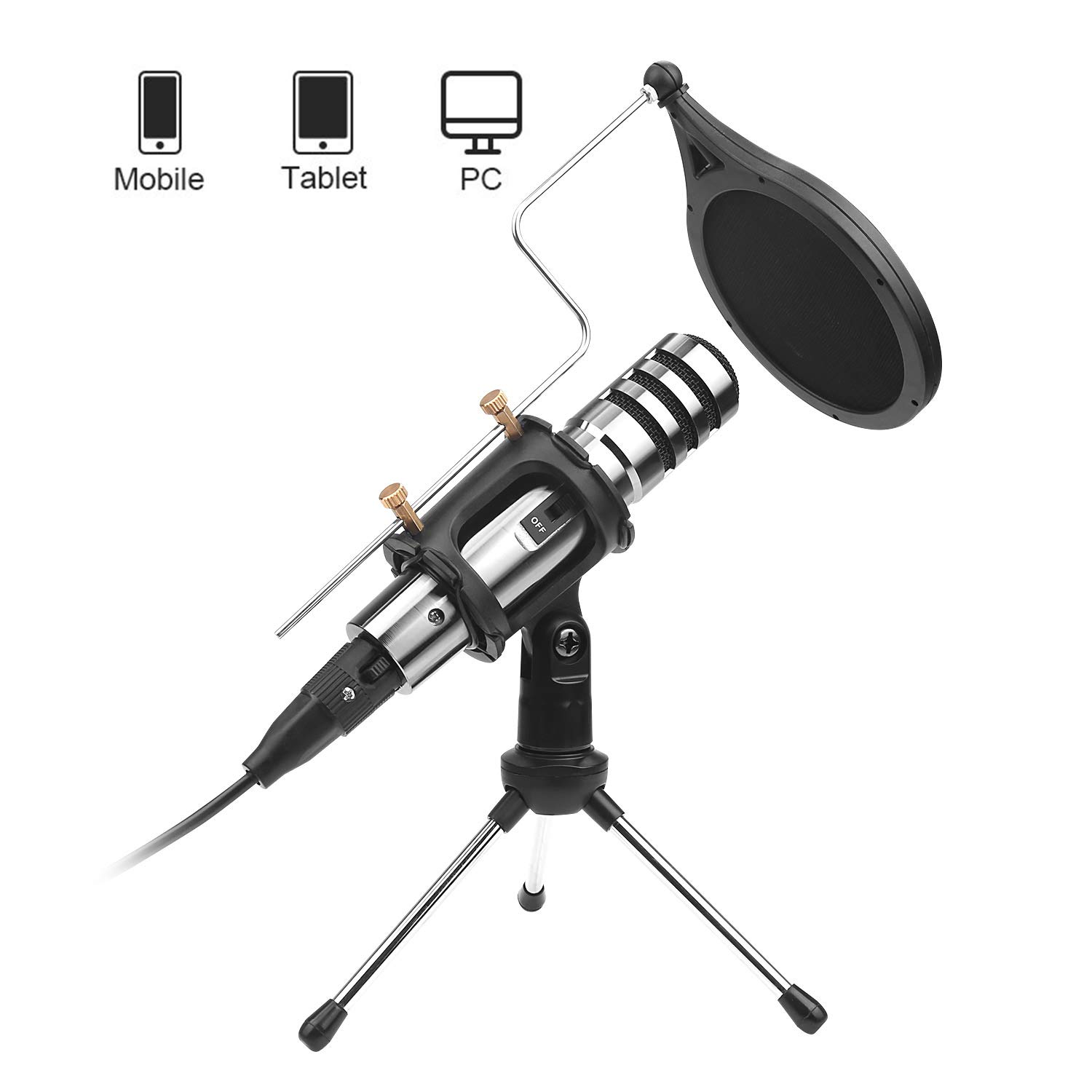 DricRoda Condenser Microphone, 3.5mm Studio Recording Broadcast Microphone Computer Phone Mic w/Tripod Stand, Pop Filter for Karaoke, Gaming, Podcast, Video Conference, Facebook, YouTube (X-3)