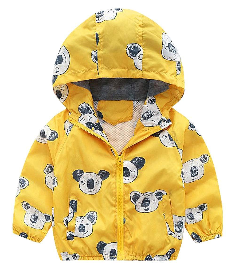 Happy Cherry Toddler Jacket Wind Resistant Zip Front Sweatshirt Dinosaur Printed Hoodie Long Sleeve Round Neck Coat