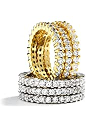 Grade AAAAA Cubic Zirconia CZ Eternity Band 3 Ring Set.