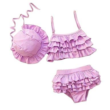 88dc8623322 Amazon.co.jp: Famuka ベビー 上着+下着+キャップ3点セット プリンセス ビキニ レース飾り水着(紫 XL(身長110-120CM  体重22-27kg)): 服&ファッション小物