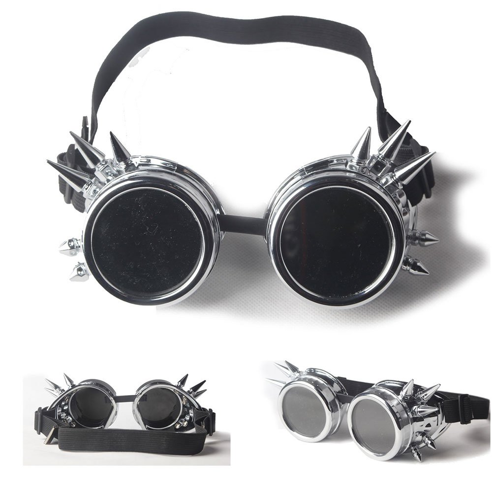 ABS Spiked Cyber Steampunk Glasses Goth Cosplay Goggles Costume Props (Silver)