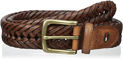 Tommy Hilfiger Leather Braided Belt - Casual for Mens Jeans with Solid Strap Single Prong Buckle