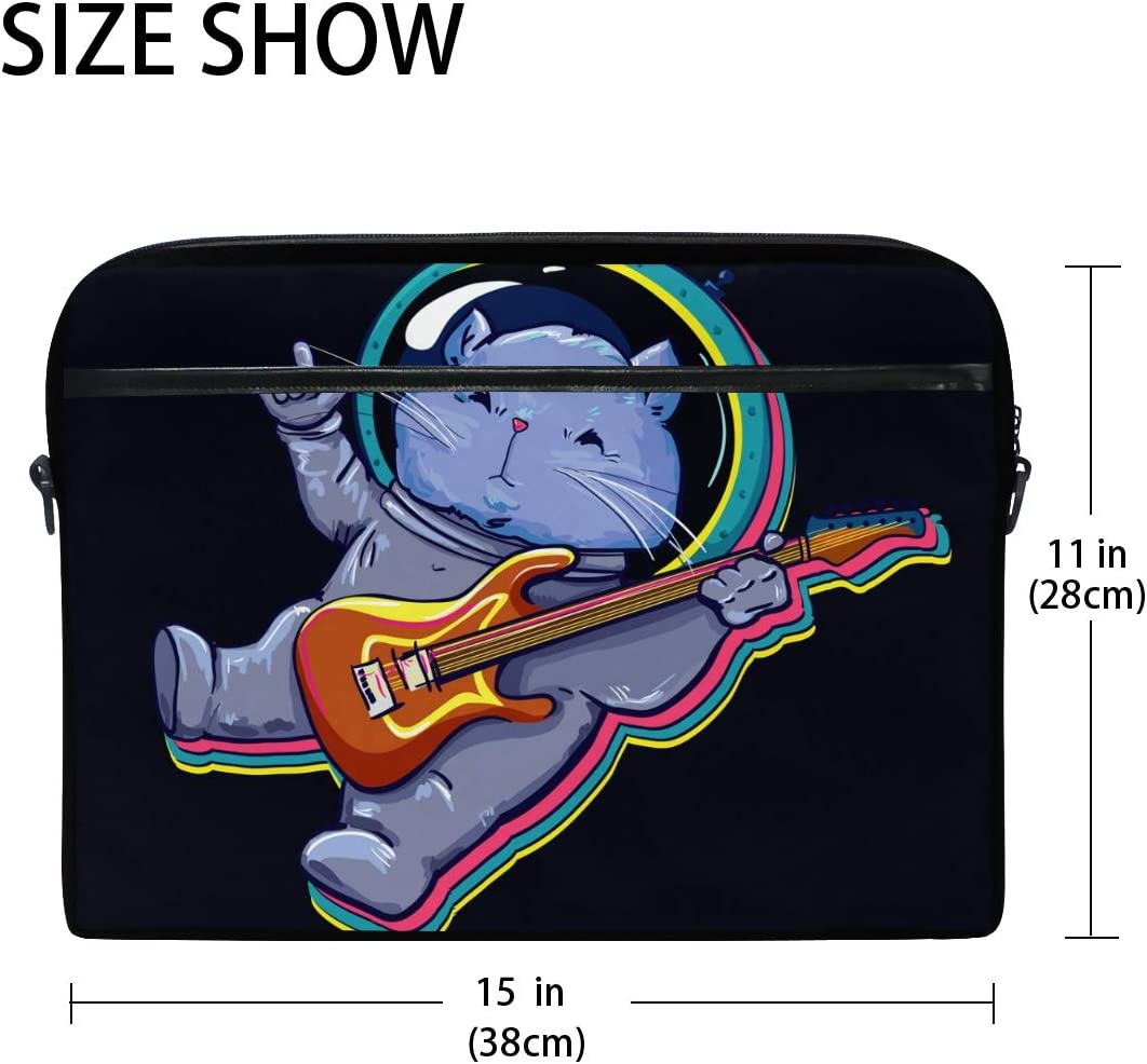 Funny Galaxy Cat Rock Play Guitar Laptop Shoulder Messenger Bag Computer Briefcase Business Notebook Sleeve Cover Carrying Handle Bag for 14 inch to 15.4 inch