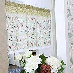 Rosa Multiflora Ruffles Lace Printed Window Curtain Valance Tier Pair Curtain Sheer Green Checked 55x24 Inch