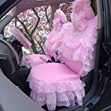 seemehappy Romantic Pink Lace Skirt Car Seat Covers for Women Full Set 19pcs