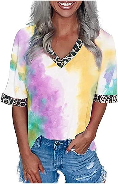 Camisetas Mujer Manga Corta Cuello en V Casual Leopardo Tie ...