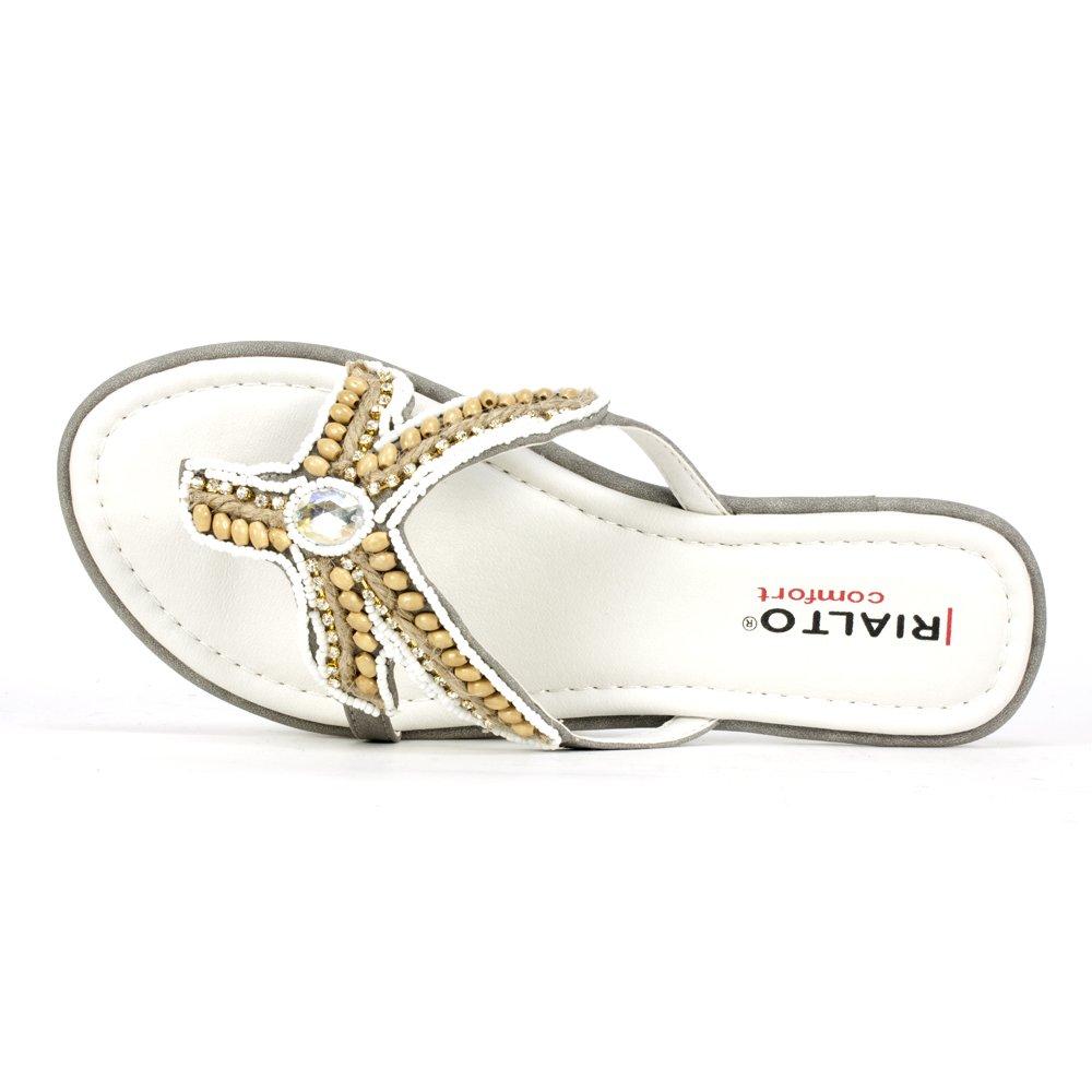Women's Faux Gemstone Beaded Starfish Gray Sandal - DeluxeAdultCostumes.com