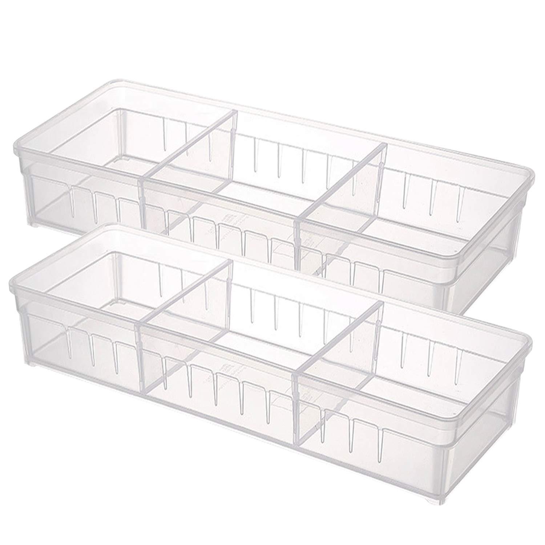 Drawer Organizer, Anumit Clear Plastic Storage Drawers with 2 Adjustable Drawer Dividers for Office, School, Kitchen, Dresser, Desk, Bedroom (2 Pack)